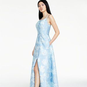 Nightway Floral Brocade Gown Light Blue/Silver